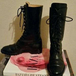 Vintage Joan & David  Lace Up Leather Boots